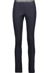 Roberto Cavalli Faux Leather Trimmed Cotton Blend Jacquard Leggings Midnight Blue