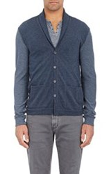John Varvatos Star U.S.A. Colorblocked Shawl Collar Cardigan Blue Size