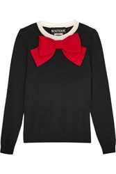 Boutique Moschino Bow Embellished Wool Sweater Black