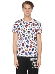 Moschino Gems Printed Cotton Jersey T Shirt