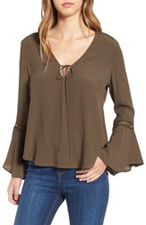 Astr Women's Crochet Trim Bell Sleeve Top Olive