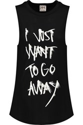 Haute Hippie I Want To Go Away Printed Modal Jersey Tank Black