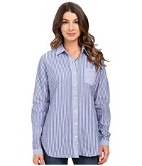 Jag Jeans Terri Mixed Stripes Shirt Yale Blue Women's Long Sleeve Button Up