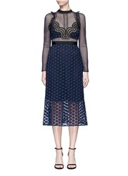 Self Portrait 'Star Repeat' Frill Trim Graphic Lace Midi Dress Blue