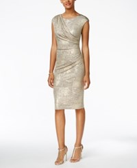 Connected Draped Metallic Dress Gold