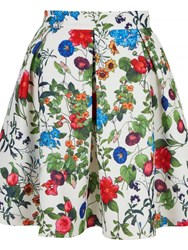 Mela Loves London Floral Scuba Skater Skirt White