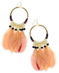 Thalia Sodi Gold Tone Feather Hoop Earrings Only At Macy's