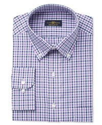 Club Room Estate Men's Classic Fit Wrinkle Resistant Purple Gingham Dress Shirt Only At Macy's