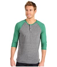 Alternative Apparel 3 4 Raglan Henley Eco Grey Eco True Green Men's Long Sleeve Pullover