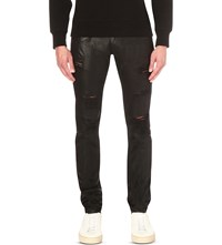 Embellish Phantom Distressed Slim Fit Skinny Waxed Jeans Black