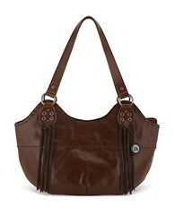 The Sak Indio Leather Satchel Teak Fringe