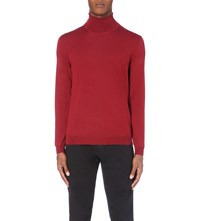 Hugo Boss Slim Fit Wool Turtleneck Jumper Medium Red