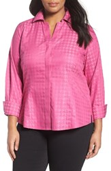 Foxcroft Plus Size Women's No Iron Houndstooth Jacquard Shirt Pink Frost