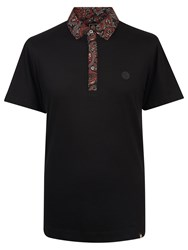 Pretty Green Turner Paisley Collar Polo Shirt Black