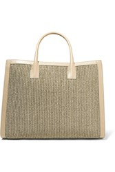 Aerin Leather Trimmed Woven Straw Tote Mushroom