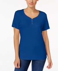 Karen Scott Henley T Shirt Only At Macy's Bright Blue