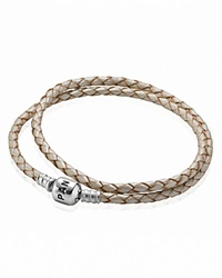 Pandora Design Pandora Bracelet Champagne Leather Double Wrap With Silver Clasp Moments Collection