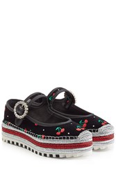 Marc By Marc Jacobs Embroidered Velvet Mary Janes Multicolor