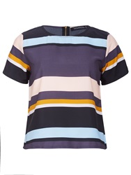Sugarhill Boutique Summer Stripe Boxy T Shirt Top Multi Coloured