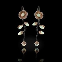 Fabio Salini Earrings Fiore In White Gold Carbon Fiber Opals Fancy Sapphires And Diamonds