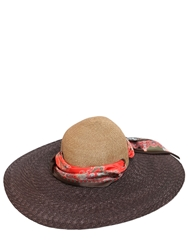 Etro Woven Straw Hat With Silk Scarf Brown