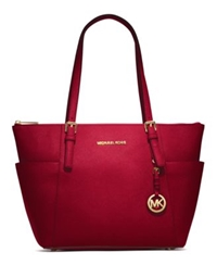 Michael Kors Jet Set Top Zip Saffiano Leather Tote Red