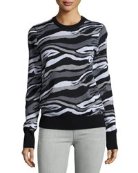 Equipment Ondine Striped Crewneck Sweater Black Multi