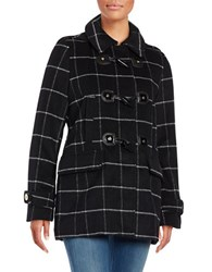 Michael Michael Kors Wool Blend Hooded Toggle Coat Black White