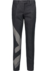 Fendi Color Block Low Rise Tapered Jeans Blue