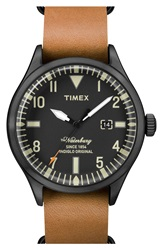 Timex 'Waterbury' Leather Strap Watch 40Mm Tan Black