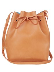 Mansur Gavriel Blue Lined Leather Bucket Bag Tan Multi
