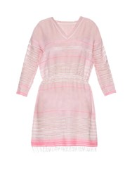 Lemlem Almaz V Neck Striped Dress Pink Multi