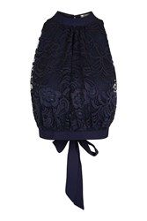 Love Lace High Neck Top By Navy Blue