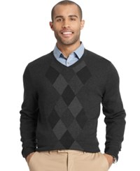 Van Heusen Big And Tall Feeder Stripe Diamond V Neck Sweater Grey