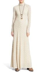 Women's Free People Floral Lace Turtleneck Maxi Dress Almond