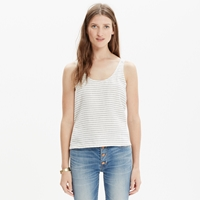 Madewell Linen Crop Top In Stripe