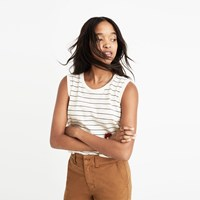 Madewell Whisper Cotton Crewneck Muscle Tank In Selby Stripe