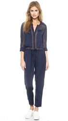 Shades Of Grey By Micah Cohen Long Sleeve Jumpsuit Navy