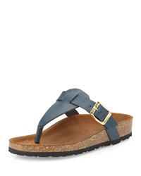 Neiman Marcus Made In Italy Christie Leather Thong Sandal Navy