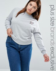 Daisy Street Plus Sweater With Embroidered Badge Grey