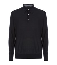 Stefano Ricci Cashmere Silk Long Sleeve Polo Shirt Male