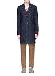 Paul Smith Check Plaid Wool Cotton Blend Coat Blue