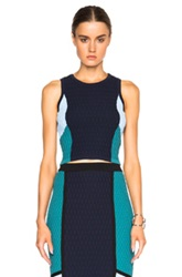 Jonathan Simkhai Crop Colorblock Top In Blue
