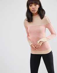 Asos Jumper With Turtle Neck In Stripe In Soft Yarn Multi