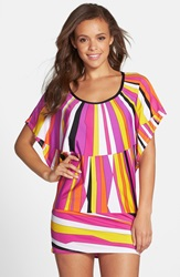 Trina Turk 'Sunburst' Cover Up Tunic Black Pink