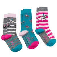 Joules Brill Bamboo Horse Print Ankle Socks Pack Of 3 Multi