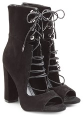 Kendall Kylie Suede Open Toe Ankle Boots Black