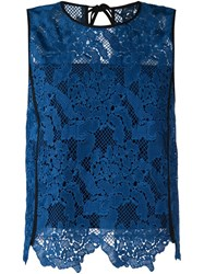 Msgm Embroidered Floral Lace Top Blue