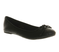 Office Karmen Round Toe Flat Slip On Ballerina Shoes Black