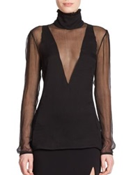 Altuzarra Crinkled Chiffon Sheer Blouse Black